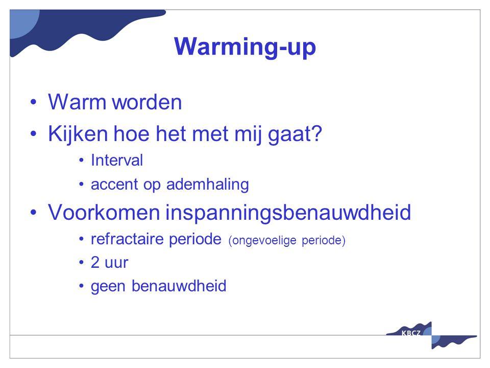 Warming-up Warm worden Kijken hoe het met mij gaat