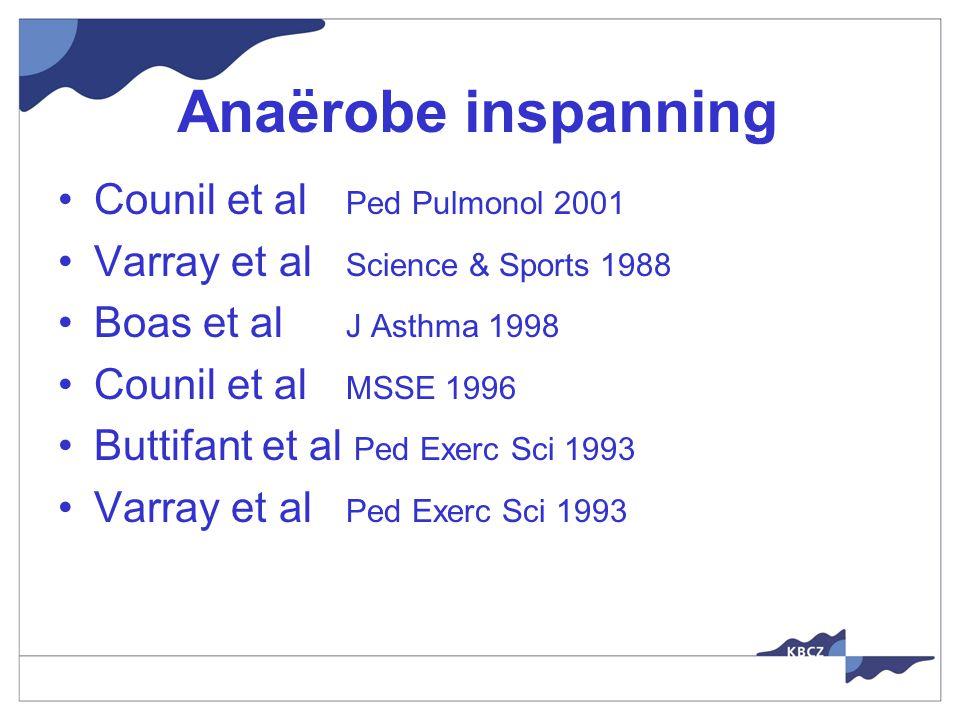 Anaërobe inspanning Counil et al Ped Pulmonol 2001