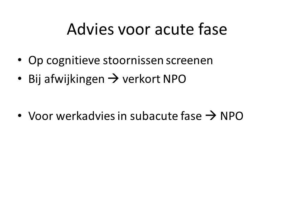 Advies voor acute fase Op cognitieve stoornissen screenen