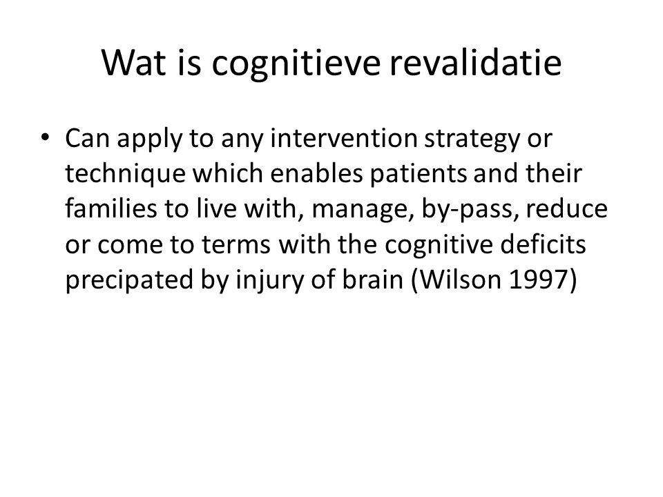 Wat is cognitieve revalidatie