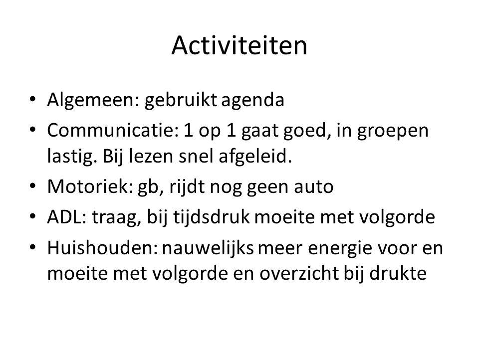 Activiteiten Algemeen: gebruikt agenda