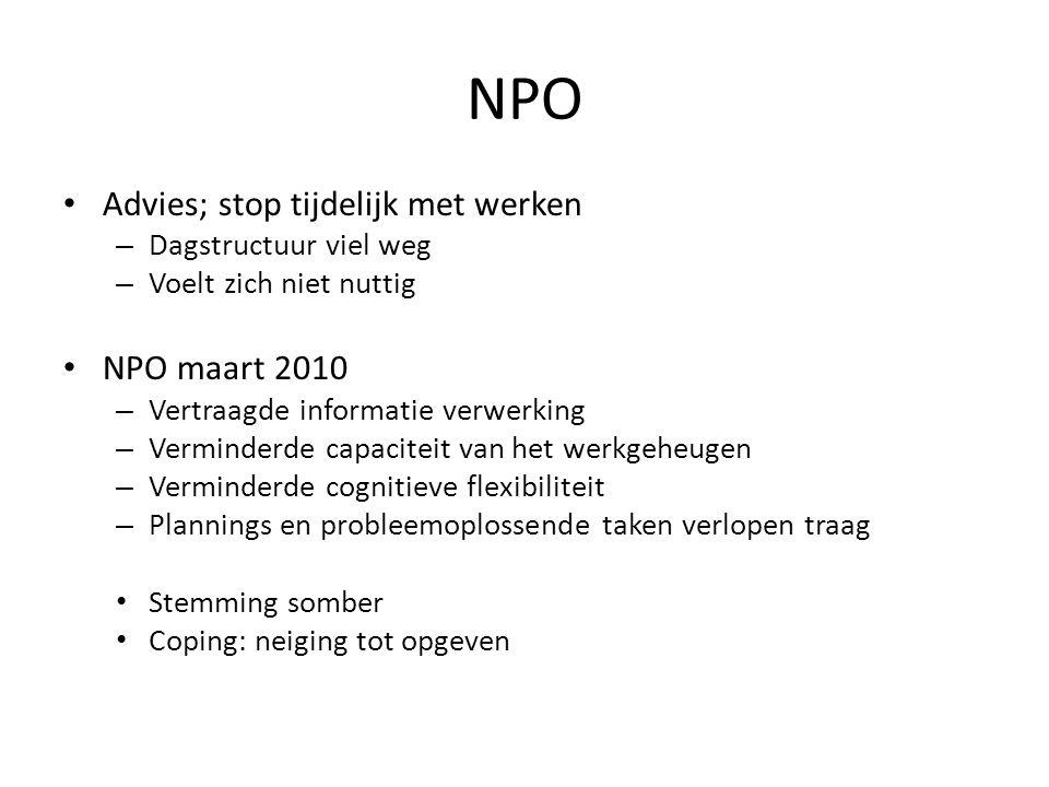 NPO Advies; stop tijdelijk met werken NPO maart 2010