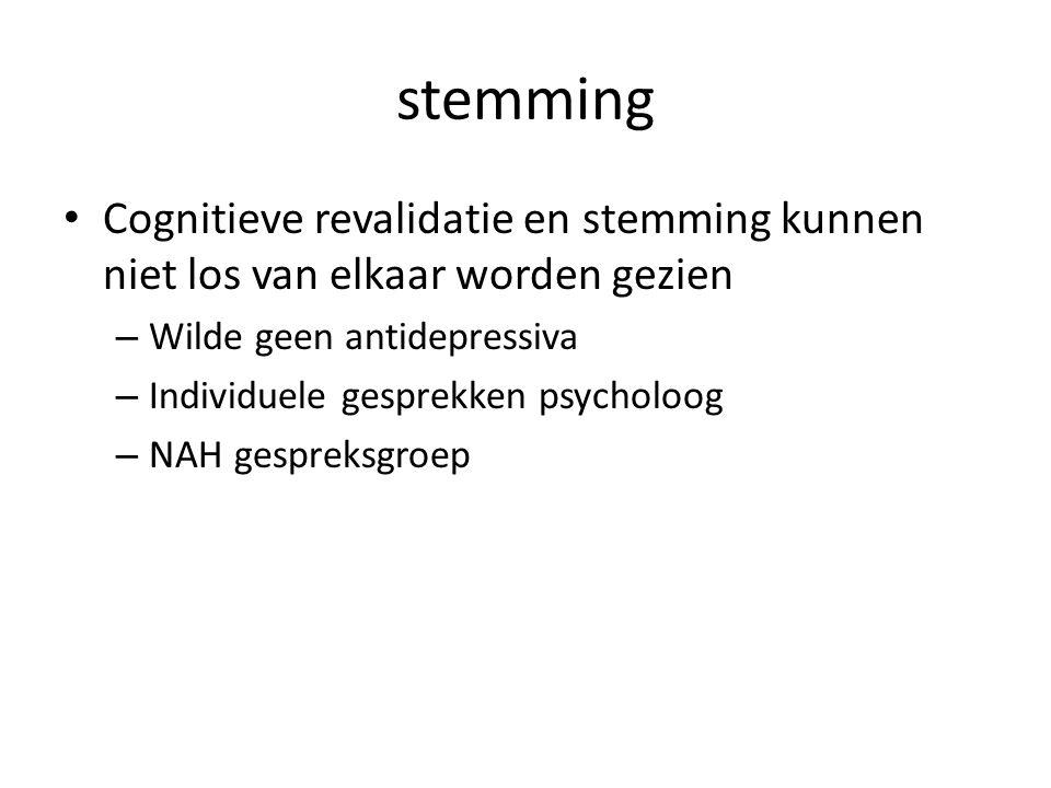 stemming Cognitieve revalidatie en stemming kunnen niet los van elkaar worden gezien. Wilde geen antidepressiva.