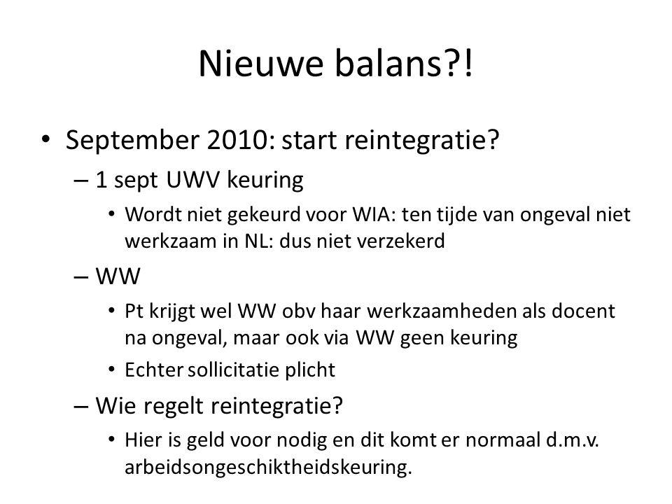 Nieuwe balans ! September 2010: start reintegratie 1 sept UWV keuring