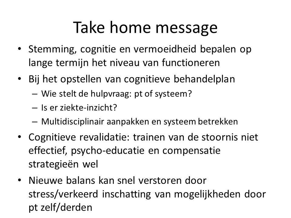 Take home message Stemming, cognitie en vermoeidheid bepalen op lange termijn het niveau van functioneren.