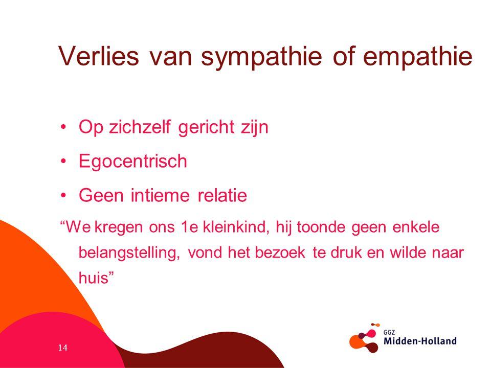 Verlies van sympathie of empathie