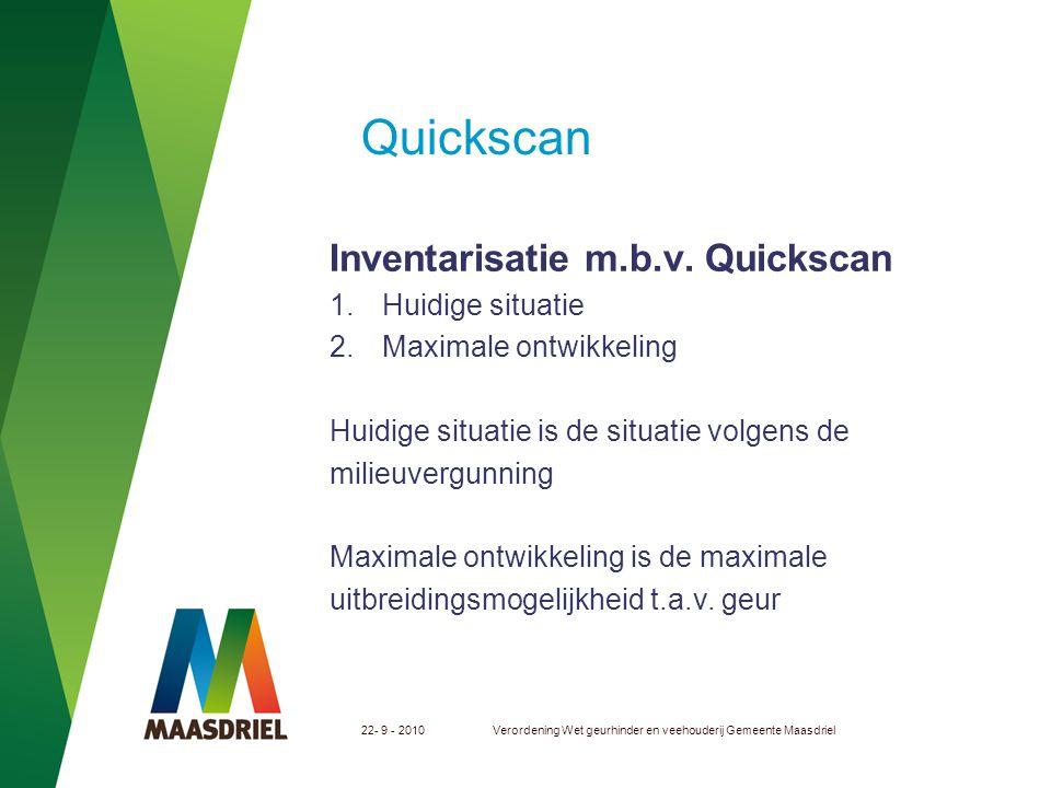 Quickscan Inventarisatie m.b.v. Quickscan Huidige situatie