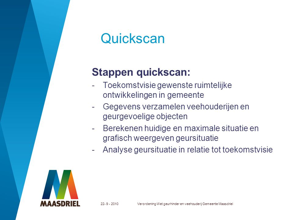 Quickscan Stappen quickscan: