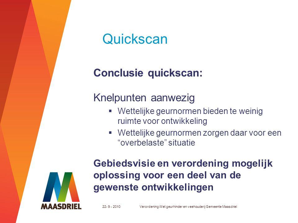 Quickscan Conclusie quickscan: Knelpunten aanwezig