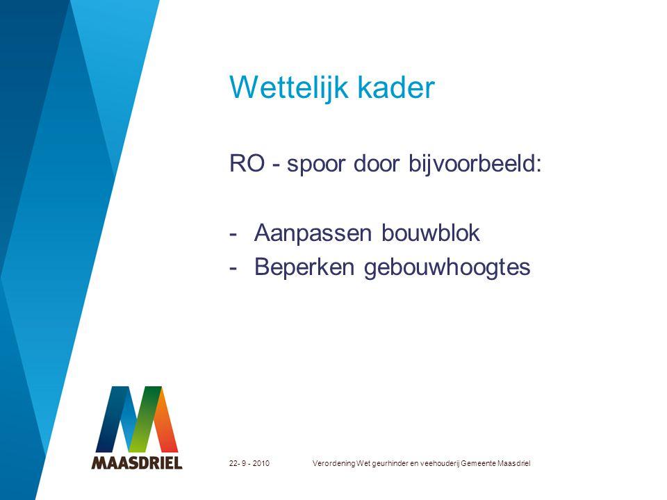Wettelijk kader RO - spoor door bijvoorbeeld: Aanpassen bouwblok