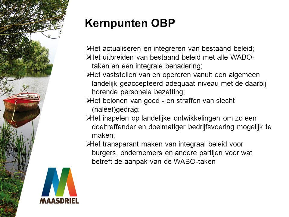 Kernpunten OBP Het actualiseren en integreren van bestaand beleid;