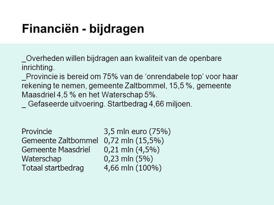 Financiën - bijdragen _Overheden willen bijdragen aan kwaliteit van de openbare inrichting. _Provincie is bereid om 75% van de 'onrendabele top' voor haar rekening te nemen, gemeente Zaltbommel, 15,5 %, gemeente Maasdriel 4,5 % en het Waterschap 5%. _ Gefaseerde uitvoering. Startbedrag 4,66 miljoen. Provincie 3,5 mln euro (75%) Gemeente Zaltbommel 0,72 mln (15,5%) Gemeente Maasdriel 0,21 mln (4,5%) Waterschap 0,23 mln (5%) Totaal startbedrag 4,66 mln (100%)