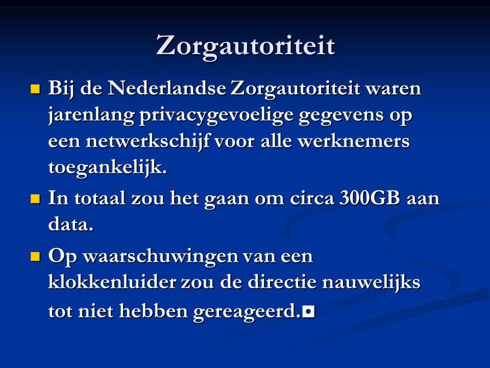 Zorgautoriteit Bij de Nederlandse Zorgautoriteit waren jarenlang privacygevoelige gegevens op een netwerkschijf voor alle werknemers toegankelijk.