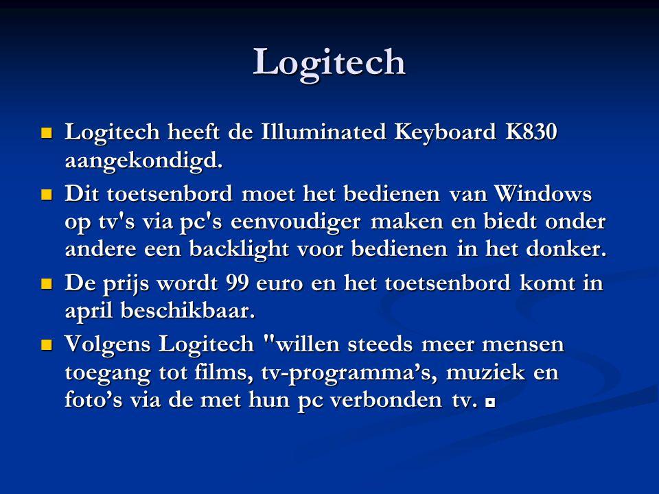 Logitech Logitech heeft de Illuminated Keyboard K830 aangekondigd.