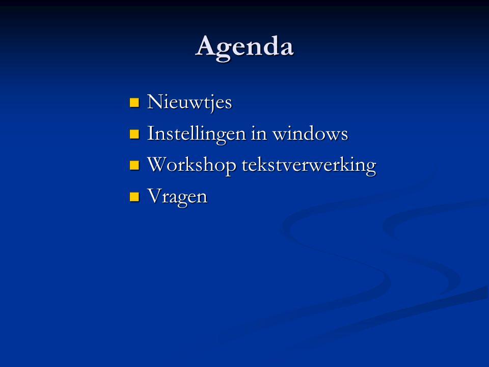 Agenda Nieuwtjes Instellingen in windows Workshop tekstverwerking