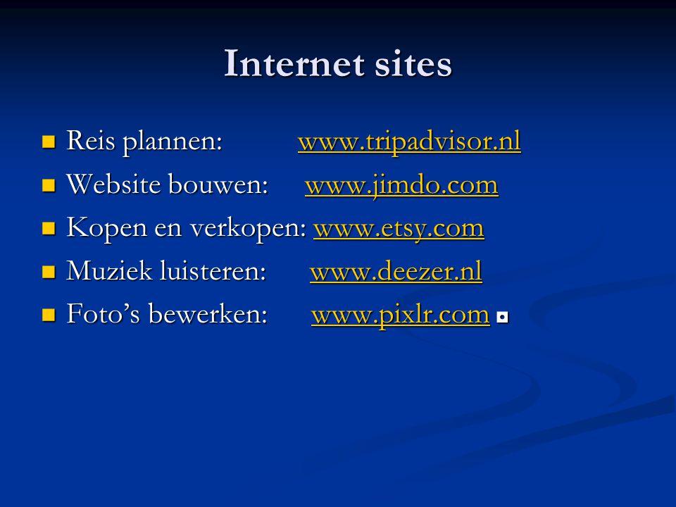 Internet sites Reis plannen: www.tripadvisor.nl