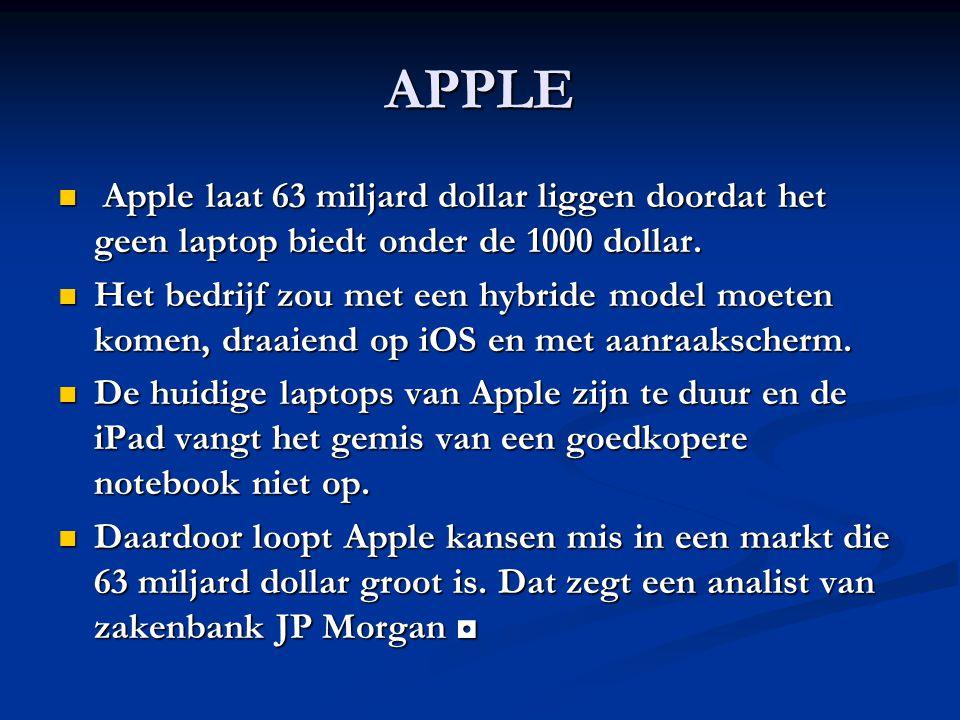 APPLE Apple laat 63 miljard dollar liggen doordat het geen laptop biedt onder de 1000 dollar.
