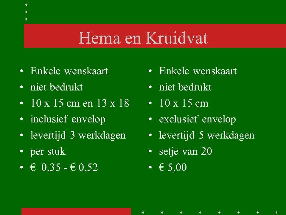 Hema en Kruidvat Enkele wenskaart niet bedrukt 10 x 15 cm en 13 x 18