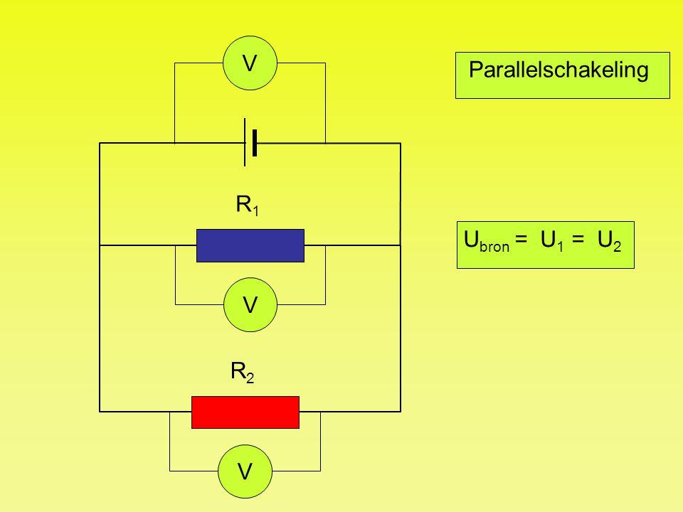 V Parallelschakeling R1 Ubron = U1 = U2 V R2 V