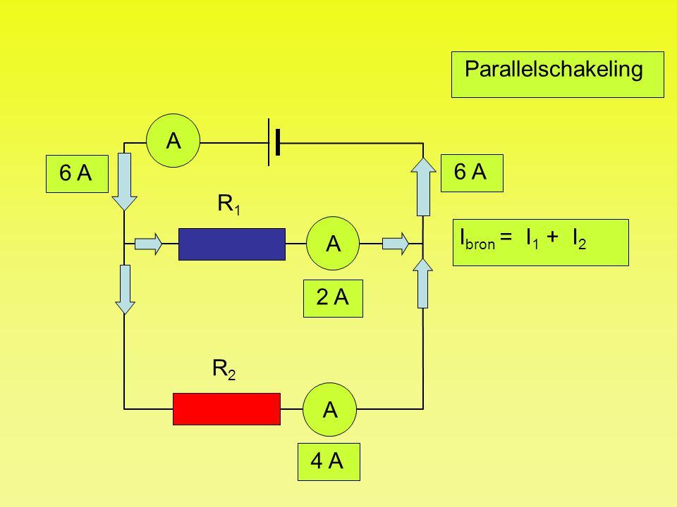 Parallelschakeling A 6 A 6 A R1 A Ibron = I1 + I2 2 A R2 A 4 A