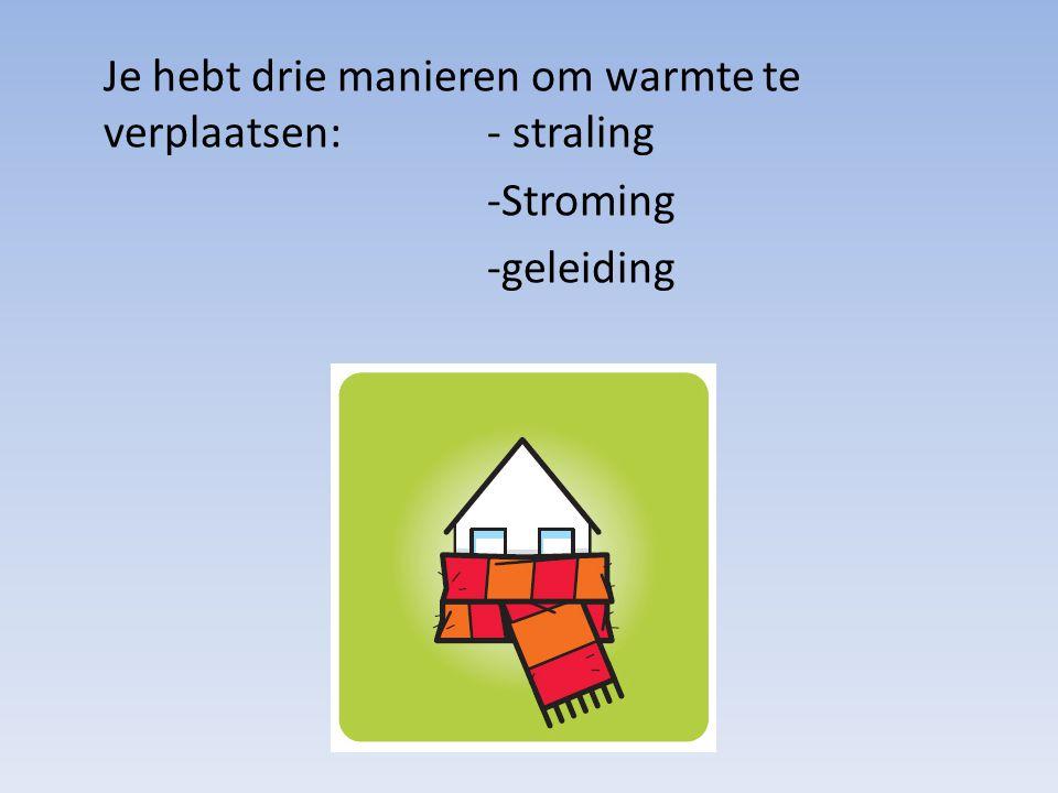 Je hebt drie manieren om warmte te verplaatsen: - straling -Stroming -geleiding