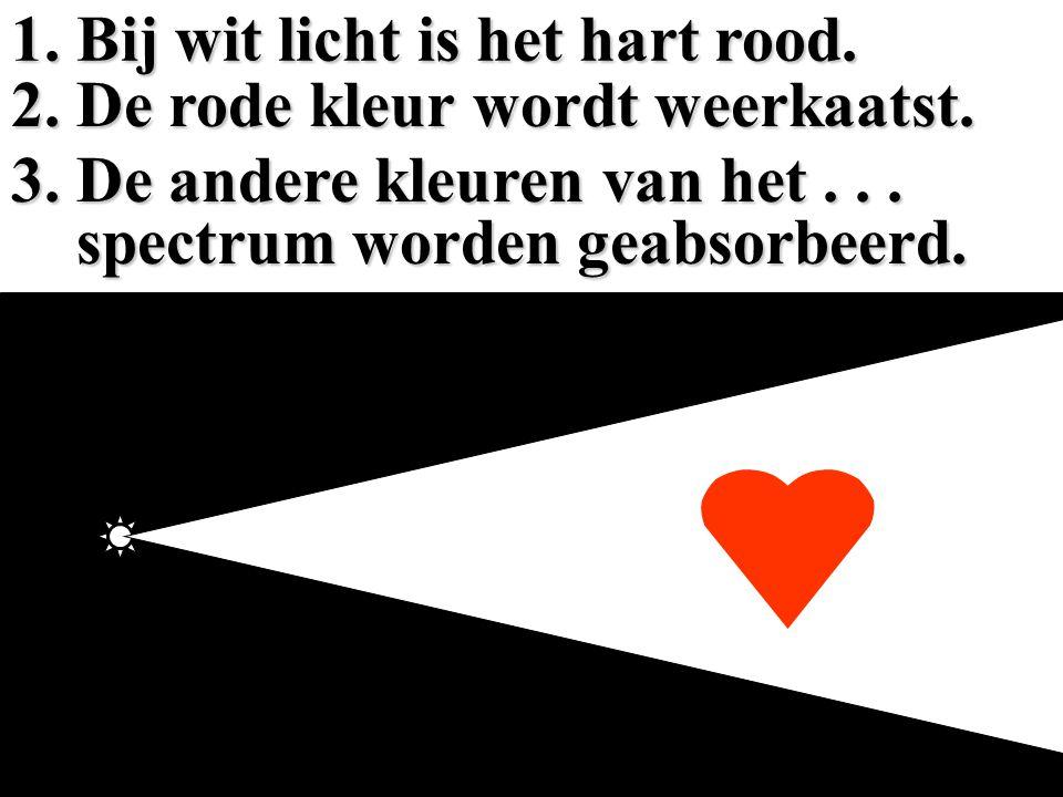 1. Bij wit licht is het hart rood.