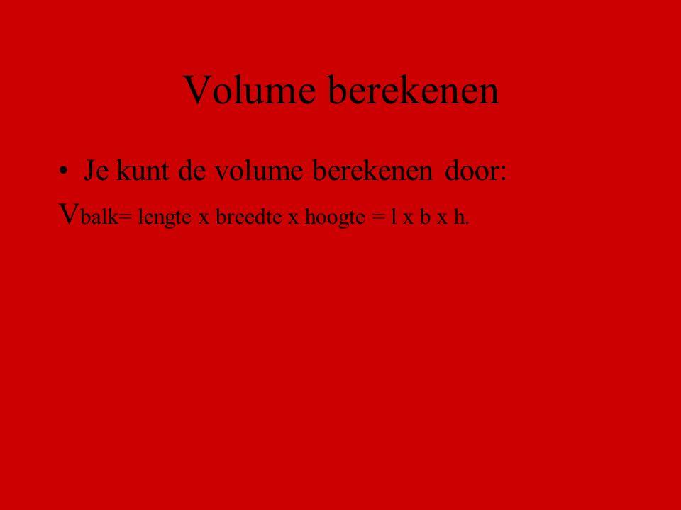 Volume berekenen Je kunt de volume berekenen door: