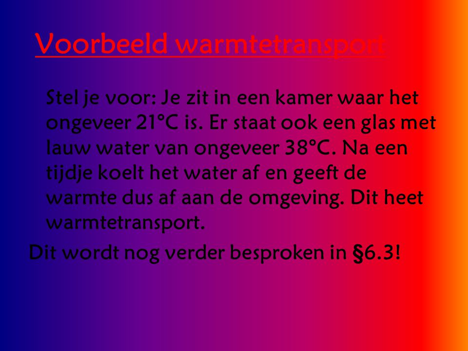 Voorbeeld warmtetransport