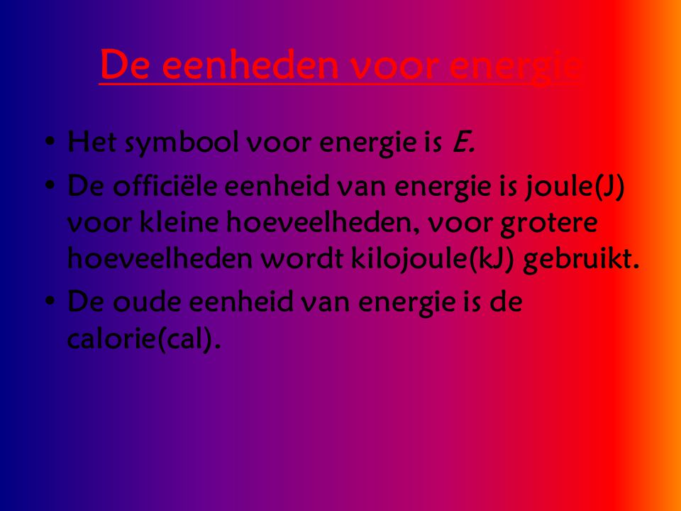 De eenheden voor energie