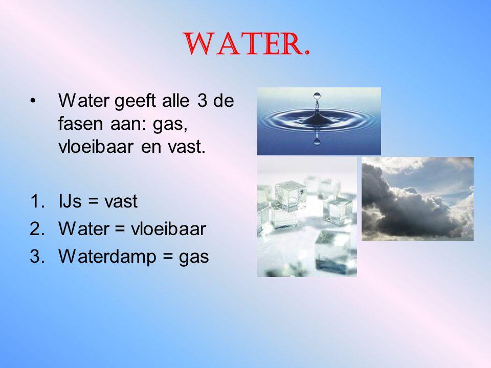 Water. Water geeft alle 3 de fasen aan: gas, vloeibaar en vast.