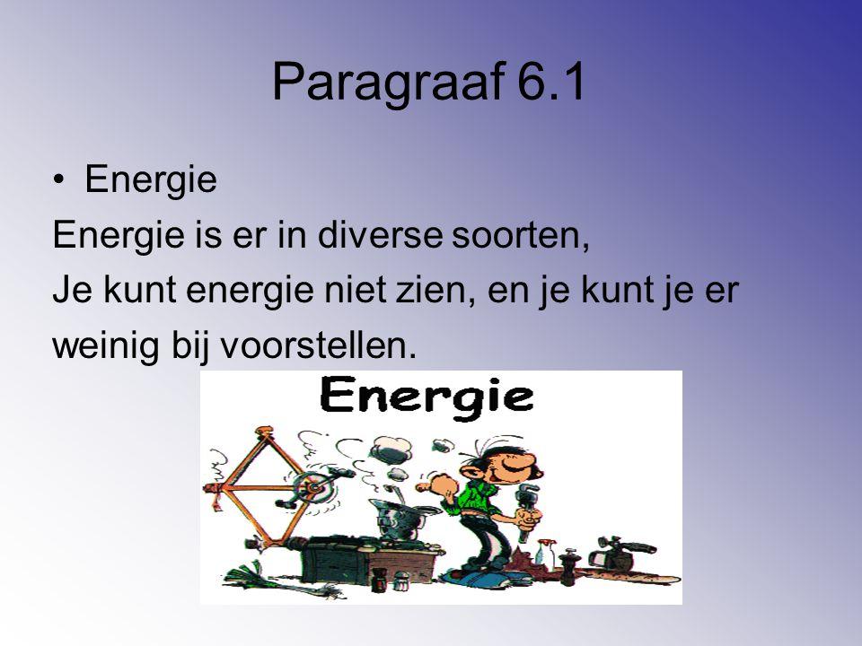 Paragraaf 6.1 Energie Energie is er in diverse soorten,