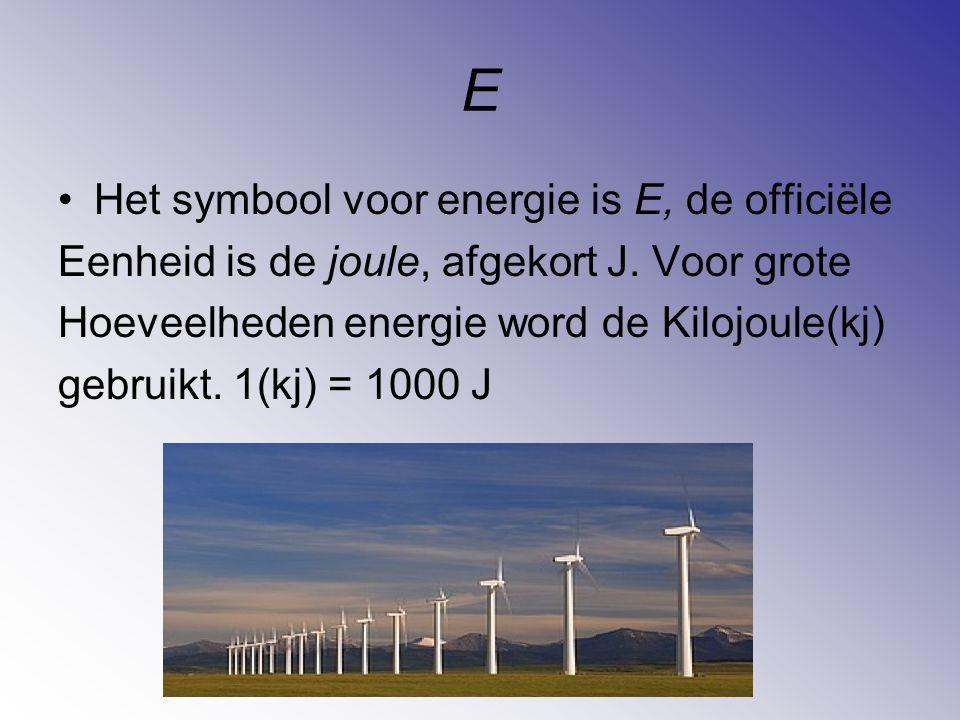 E Het symbool voor energie is E, de officiële