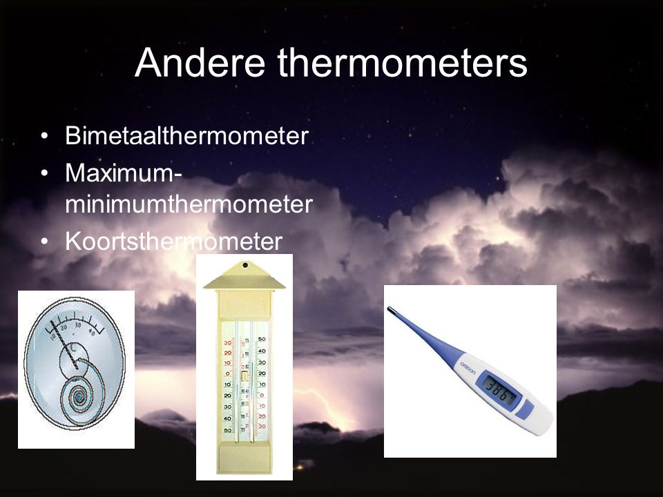 Andere thermometers Bimetaalthermometer Maximum-minimumthermometer