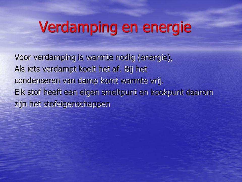 Verdamping en energie Voor verdamping is warmte nodig (energie),