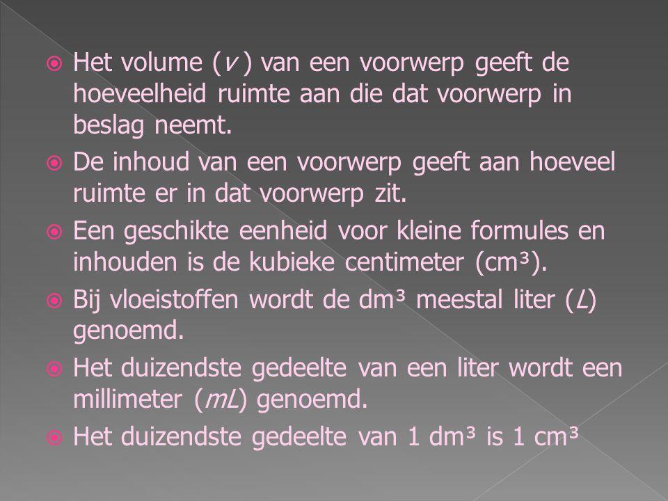Het volume (v ) van een voorwerp geeft de hoeveelheid ruimte aan die dat voorwerp in beslag neemt.