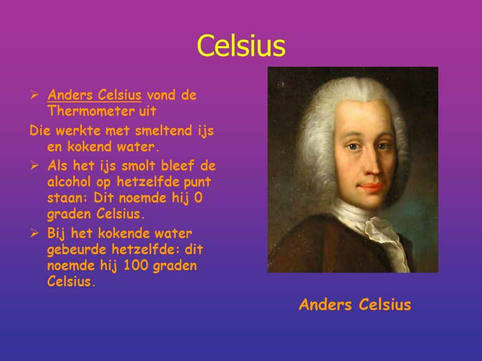 Celsius Anders Celsius Anders Celsius vond de Thermometer uit
