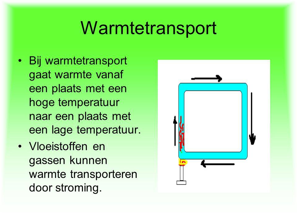 Warmtetransport Bij warmtetransport gaat warmte vanaf een plaats met een hoge temperatuur naar een plaats met een lage temperatuur.