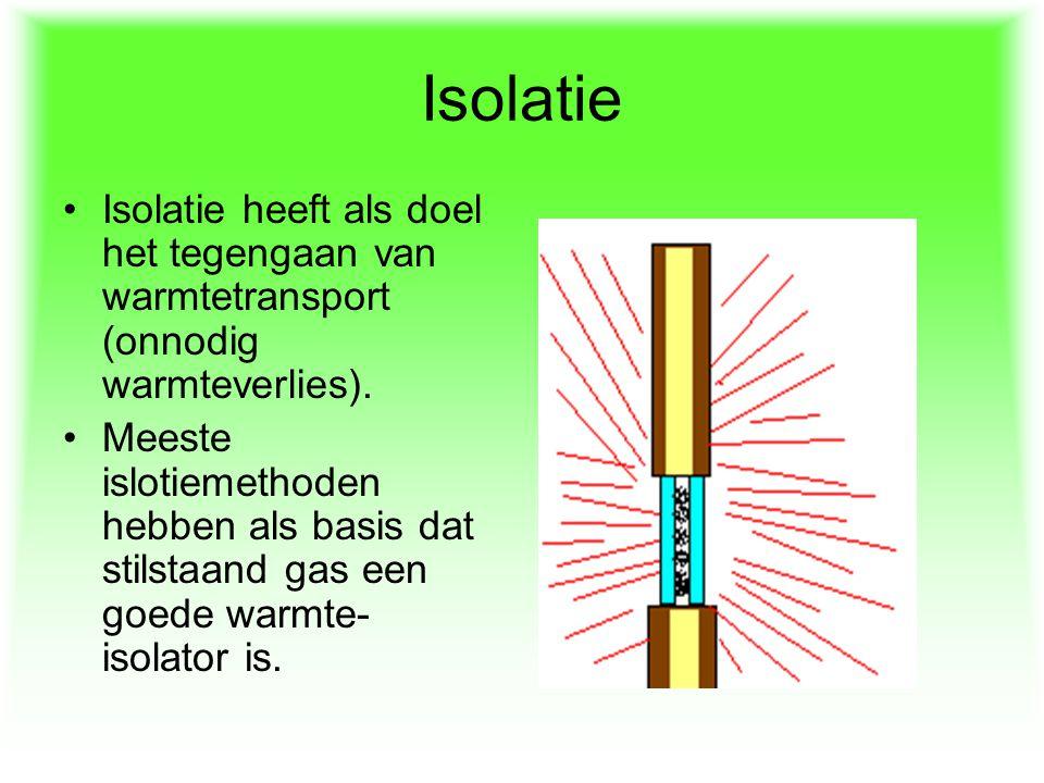 Isolatie Isolatie heeft als doel het tegengaan van warmtetransport (onnodig warmteverlies).