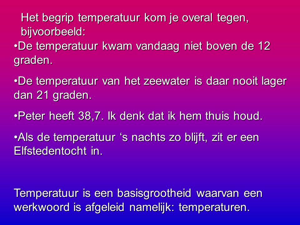 Het begrip temperatuur kom je overal tegen, bijvoorbeeld: