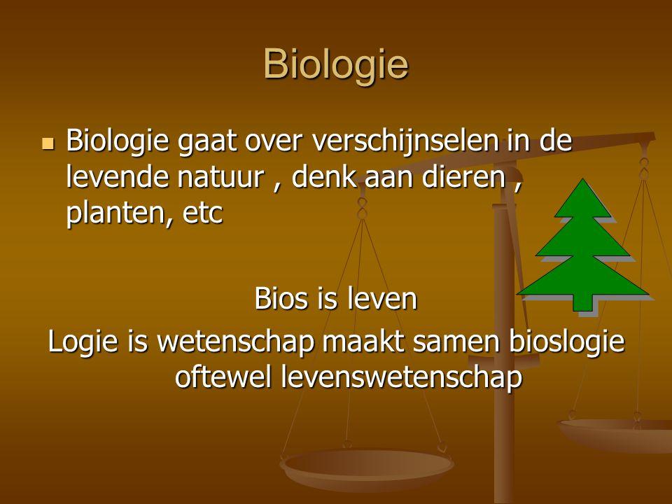 Logie is wetenschap maakt samen bioslogie oftewel levenswetenschap