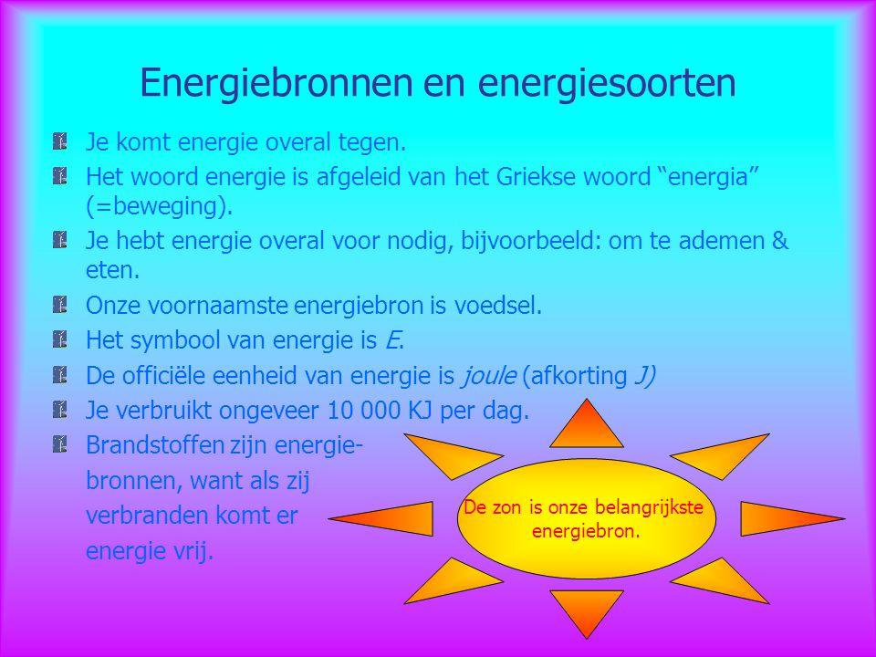 Energiebronnen en energiesoorten