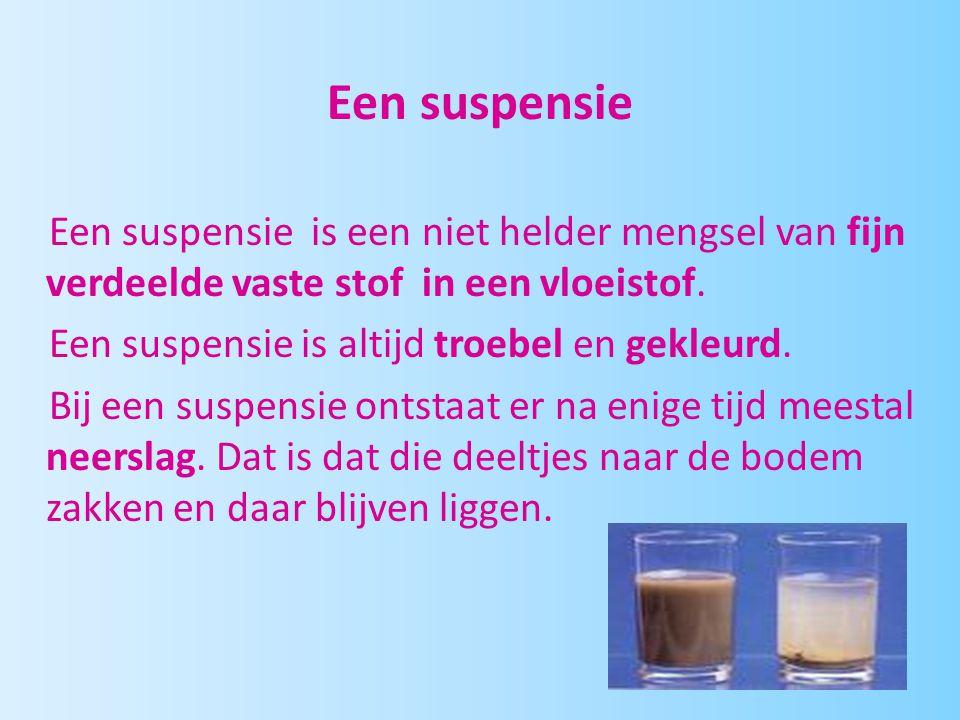 Een suspensie Een suspensie is een niet helder mengsel van fijn verdeelde vaste stof in een vloeistof.