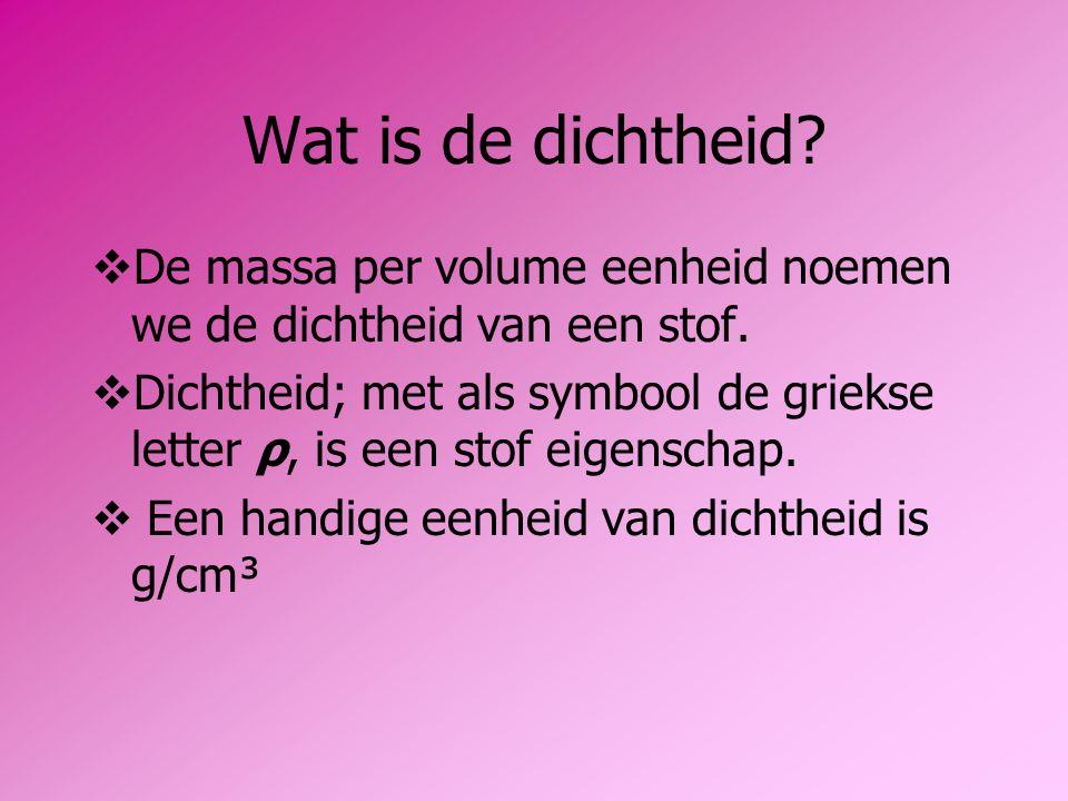 Wat is de dichtheid De massa per volume eenheid noemen we de dichtheid van een stof.