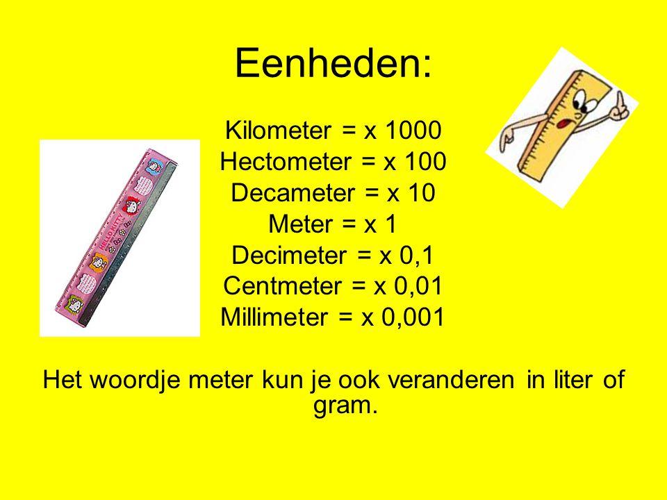 Het woordje meter kun je ook veranderen in liter of gram.