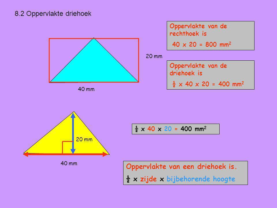 Oppervlakte van een driehoek is. ½ x zijde x bijbehorende hoogte
