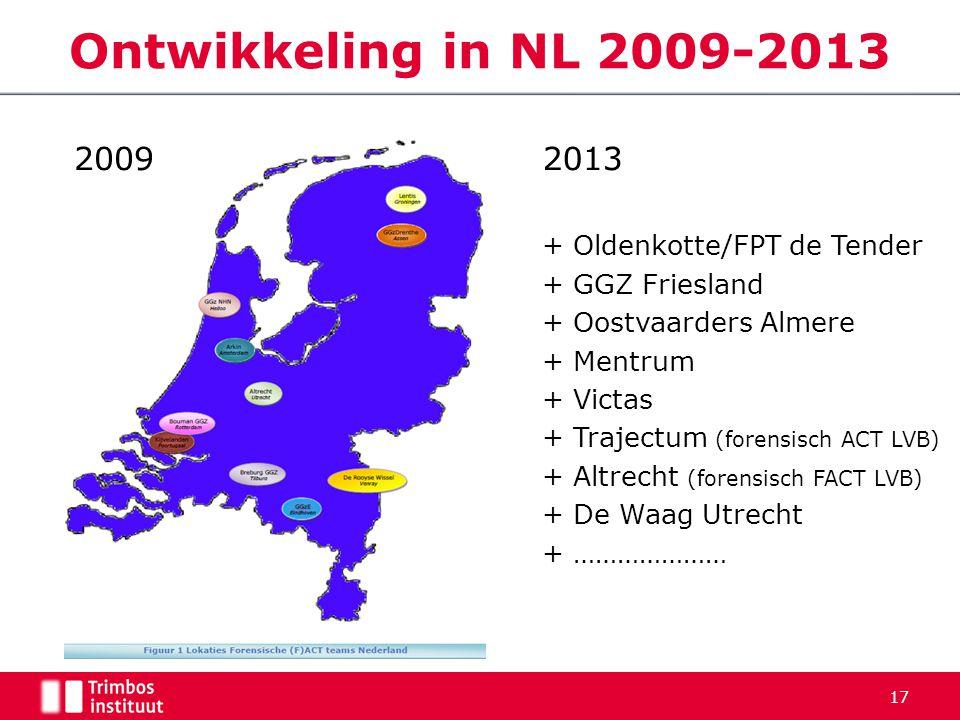 Ontwikkeling in NL 2009-2013 2009 2013 + Oldenkotte/FPT de Tender