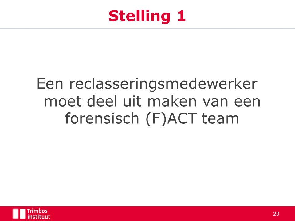 Stelling 1 Een reclasseringsmedewerker moet deel uit maken van een forensisch (F)ACT team