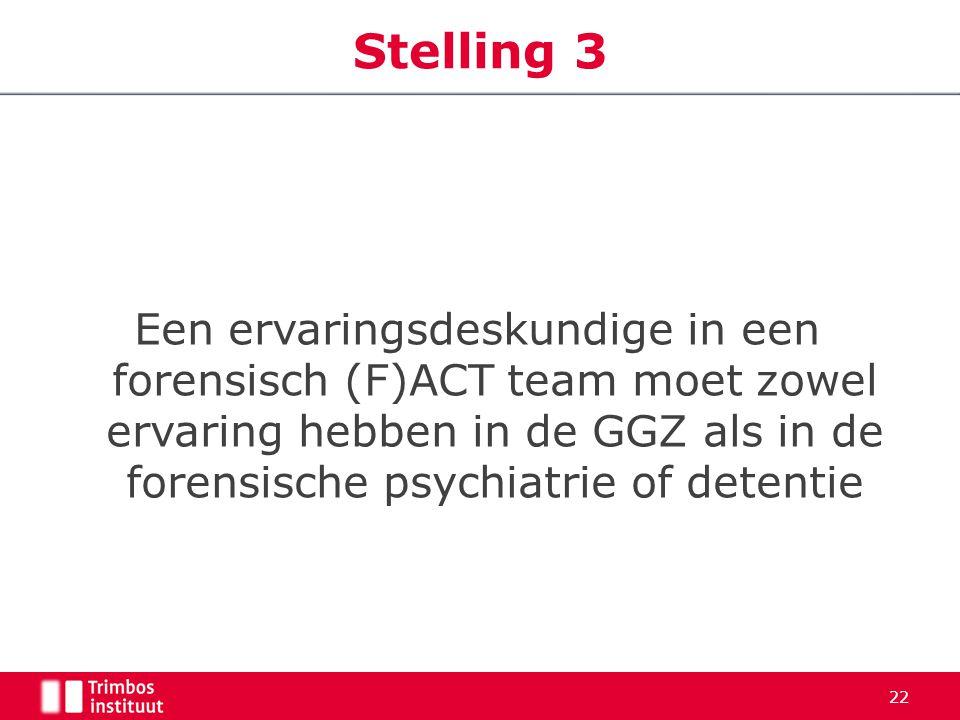 Stelling 3 Een ervaringsdeskundige in een forensisch (F)ACT team moet zowel ervaring hebben in de GGZ als in de forensische psychiatrie of detentie.