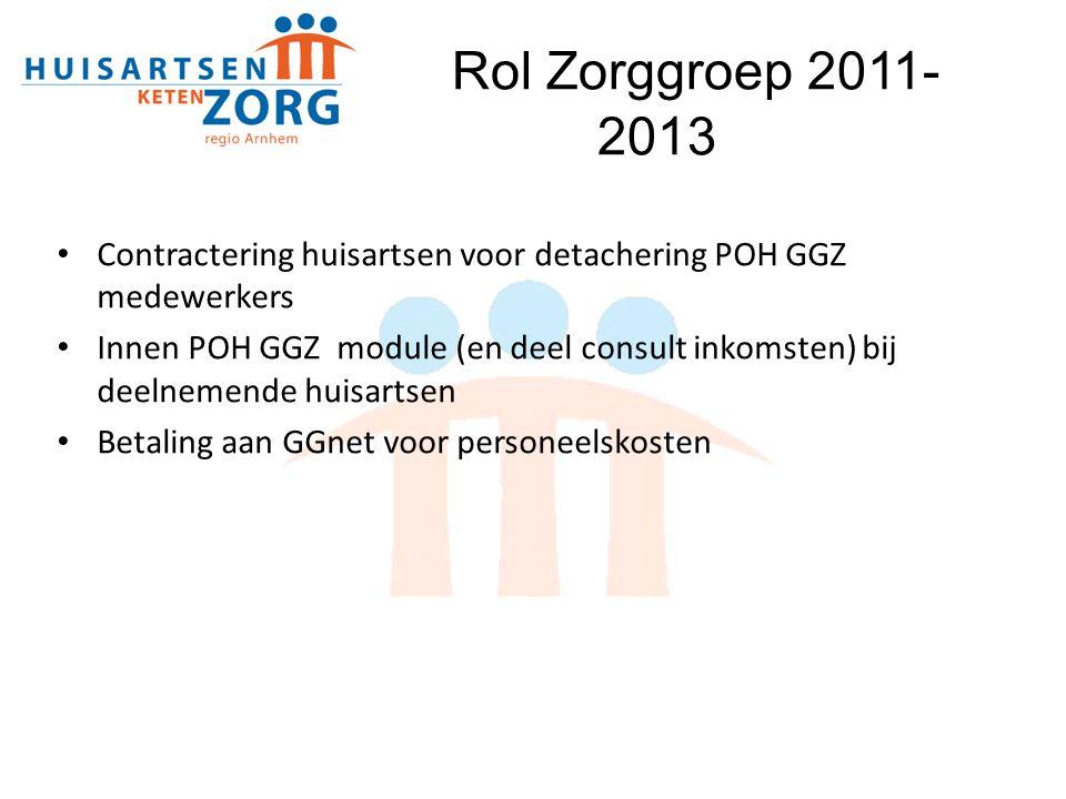 Rol Zorggroep 2011- 2013 Contractering huisartsen voor detachering POH GGZ medewerkers.