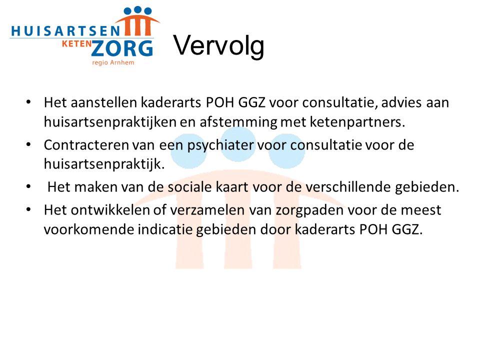 Vervolg Het aanstellen kaderarts POH GGZ voor consultatie, advies aan huisartsenpraktijken en afstemming met ketenpartners.